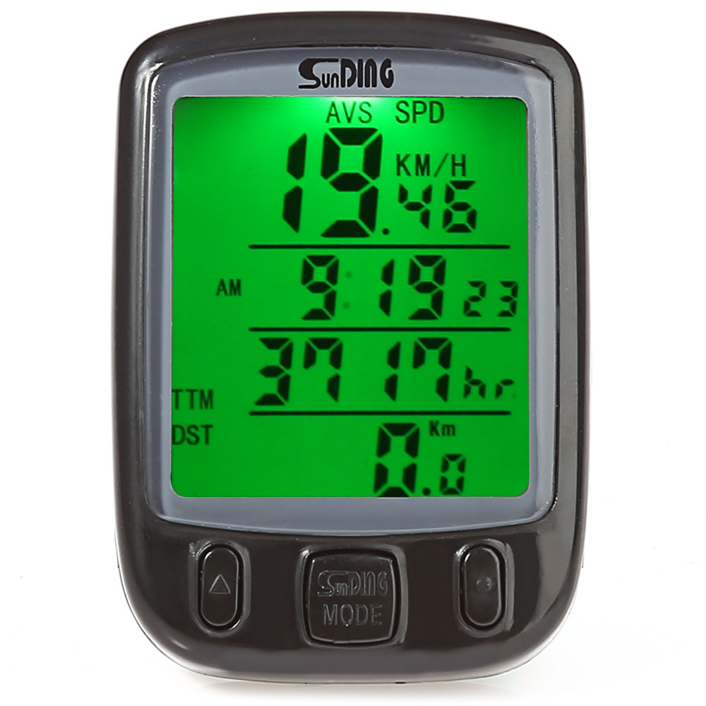 SunDing SD-563B Bicycle Computer Water Resistant Cycling Odometer Speedometer with Green LCD Backlight Bike Computer SD - 563B 1 lcd water resistant bike computer odometer speedometer black red 1 x cr2032