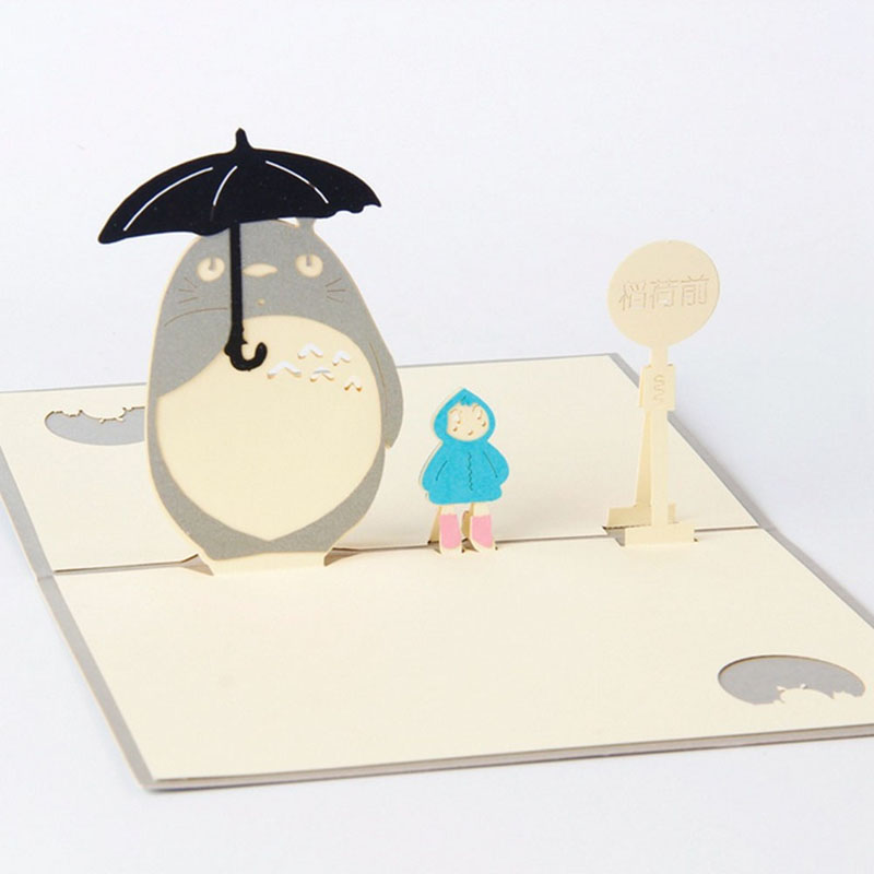Aliexpress Buy 3D Pop Up Cards Funny Neighbor Totoro – Totoro Birthday Card