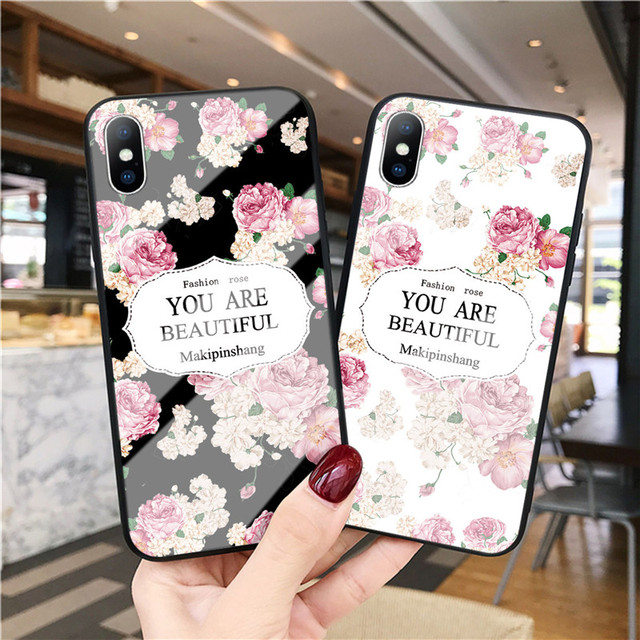 Luxury Tempered Glass Case For iPhone Rose Cherry Flower Protective Back Cover 3