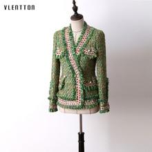 High Quality Tweed Womens Jacket Coats Vintage Pearls Plaid Slim Female Coat Long Sleeve Short Outerwear Casaco Feminino