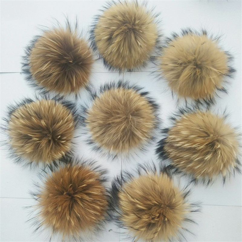 Wholesale Handmade DIY Real Natural Fur Pompom For The Hat Women   Beanies   Cap With Fur Pom Pom 12-13 CM Size Female Winter Caps