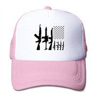 Summer Unisex American Flag With Machine Guns Polyester Mesh Hat Vintage 3D Print Baseball Hats Adjustable