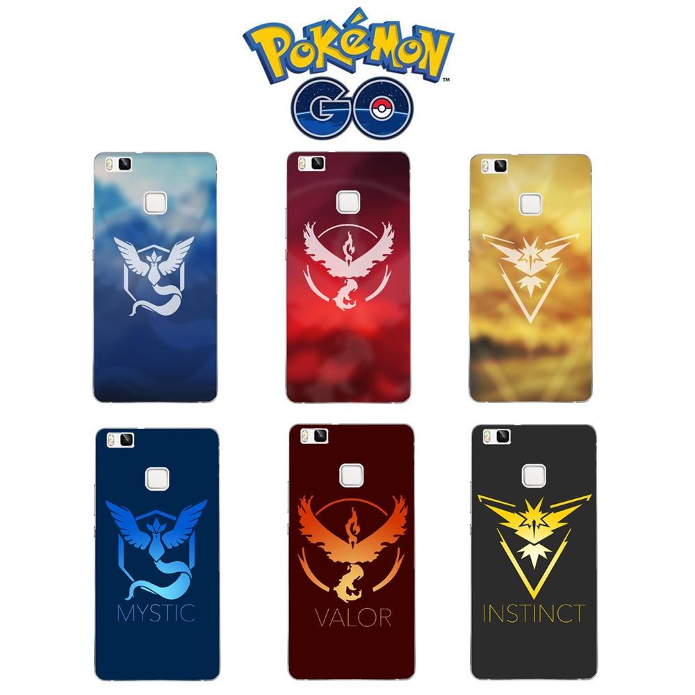 Mobile Game Pokemons Go Pokeball Team Valor Team Mystic Team Instinct Cases For Huawei Ascend P8 P9 P8Lite P9 Lite Mini Cover