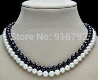Hot Sale YH CS NNEW 2 Row 9 10mm NATURAL AKOYA WHITE BLACK PEARL NECKLACE