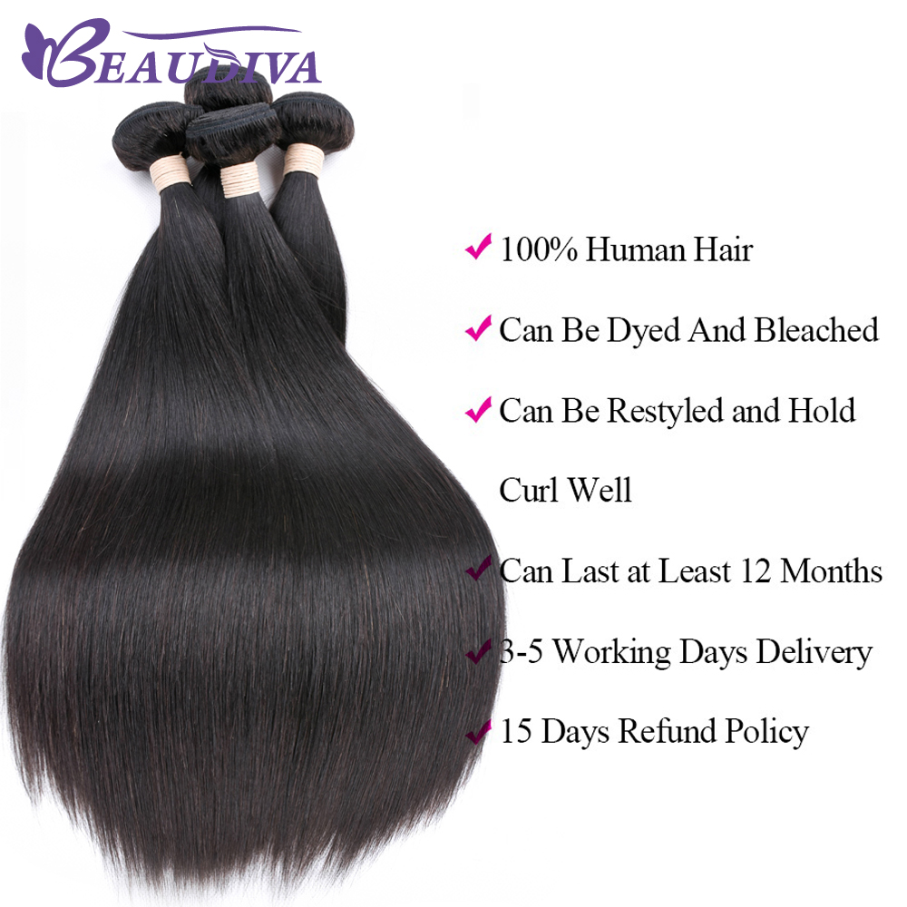 Beaudiva Peruvian Hair Bundles Straight Hair 3Pcs Lot Straight Hair - Skønhed forsyning - Foto 4