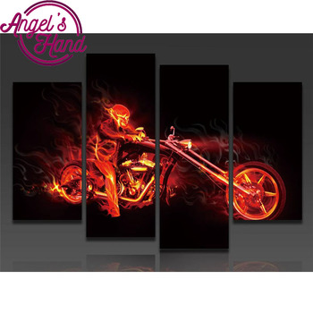 5d diamond painting Cool Motorcycle mazayka diamond embroidery 4pcs/set,5d diamond embroidery mosaic painting home decor gifts фото