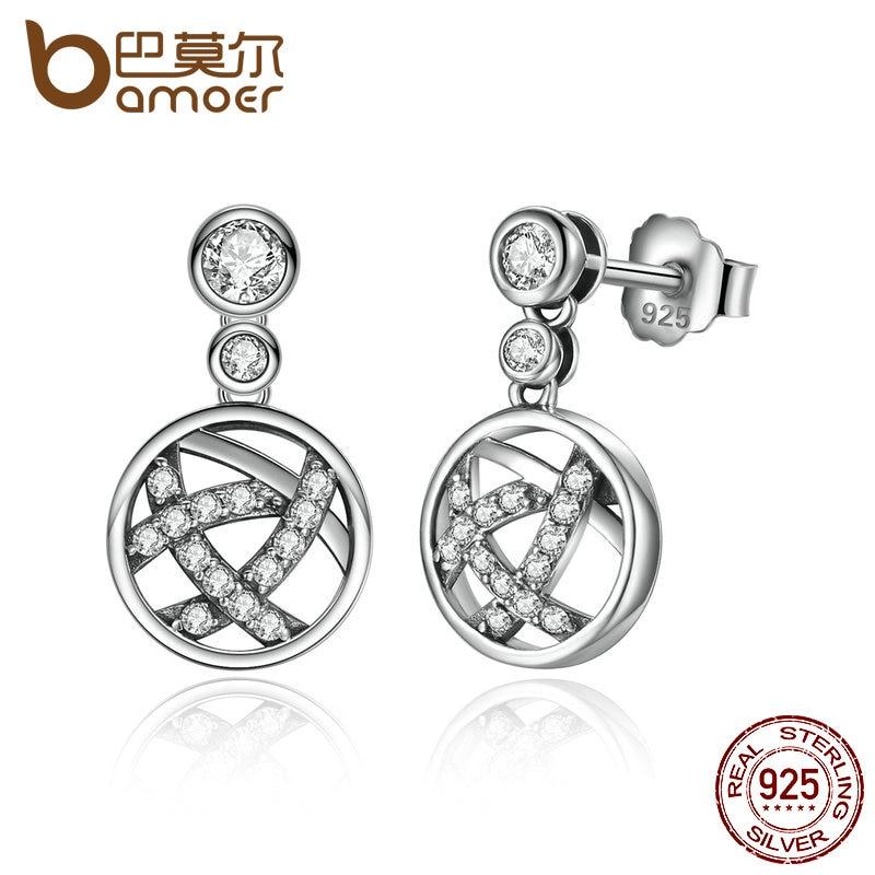BAMOER Exclusive Design Round Shape 100 925 Sterling Silver Openwork Femme Drop Earrings Fine Jewelry SCE013