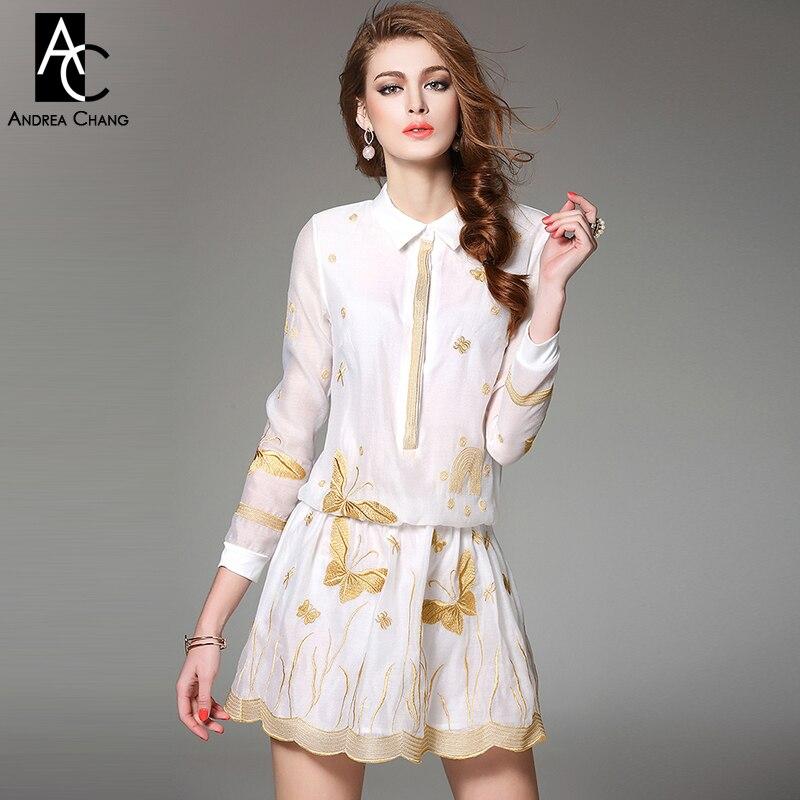 Spring Summer Runway Designer Womens Dresses White Shirt