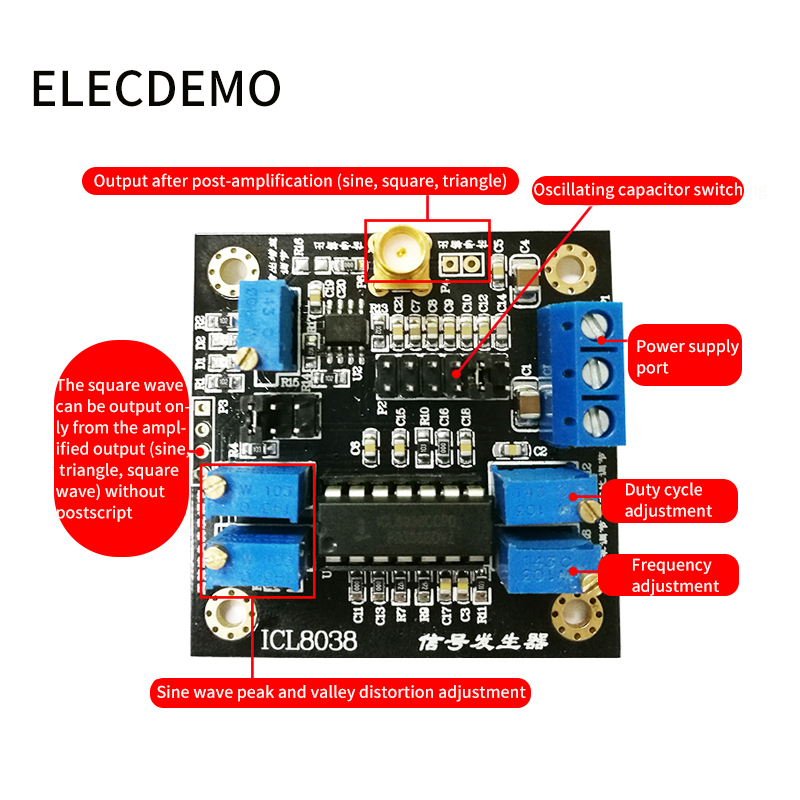 Image 2 - ICL8038 module low frequency signal source signal generator module sine wave triangular wave square wave waveform Function demo-in Demo Board Accessories from Computer & Office