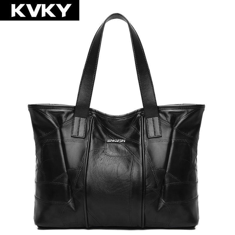 KVKY Women Handbags Genuine Leather Shoulder Bag Patchwork Sheepskin Ladies Casual Tote Large Capacity Woman Shopping Bag Bolsas ladies bag 2017 new trend fashion handbags large capacity shopping bag genuine leather bag simple shoulder ladies bag bbh1387