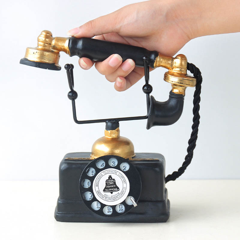 Vintage Telephone Statue Antique Shabby Old Phone Figurine Home Decor Dropshipping FAS