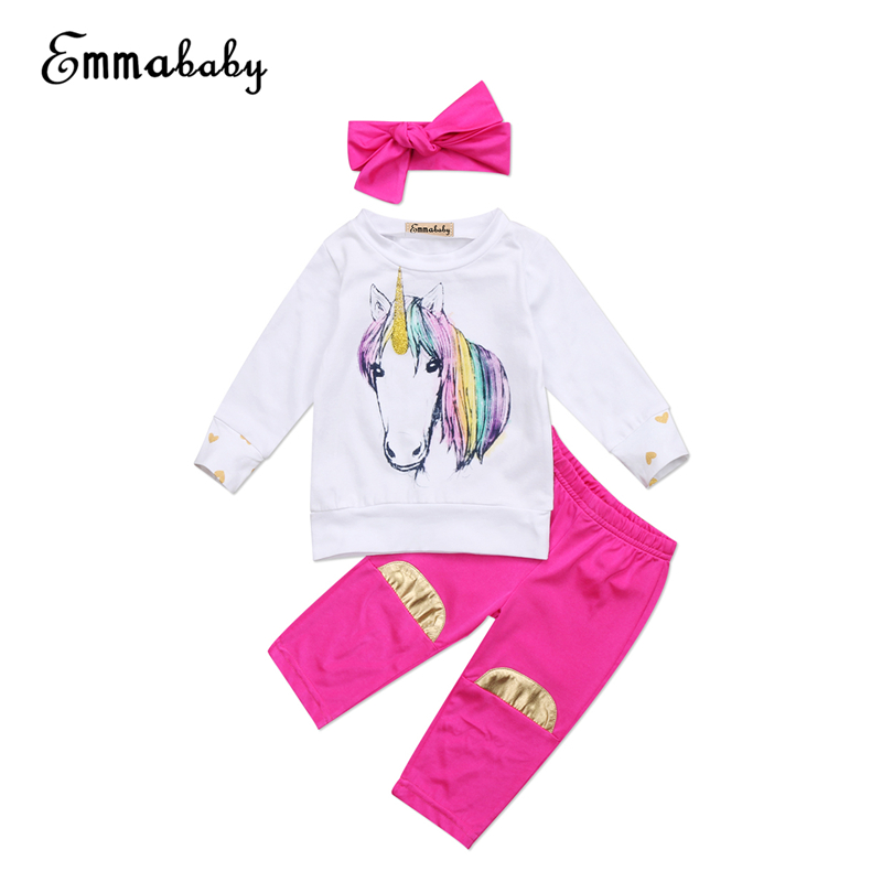 Baby Girl Unicorn Clothes Set Newborn Baby Girls Long Sleeve T-shirt+Pants+Headband 3pcs 2017 New Bebes Outfit Kids Clothing Set pink newborn infant baby girls clothes short sleeve bodysuit striped leg warmers headband 3pcs outfit bebek clothing set 0 18m