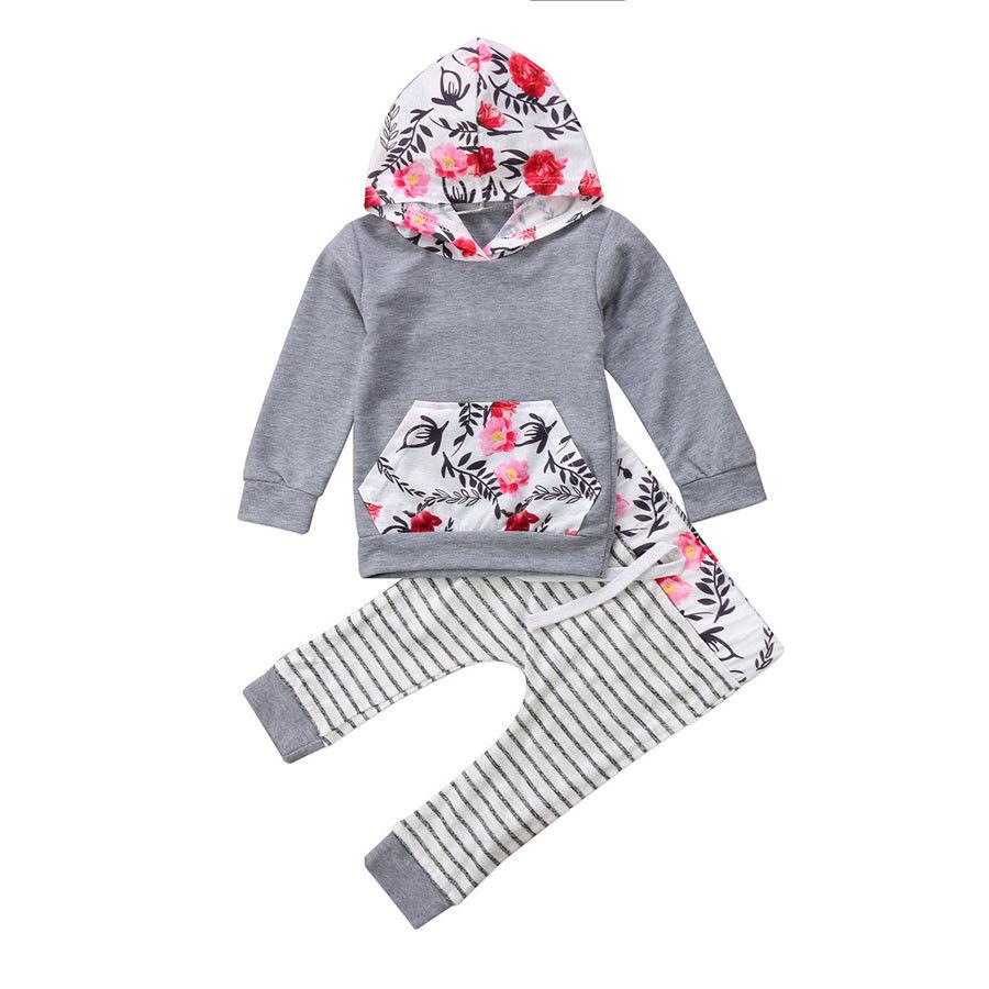 2017 Neugeborenes Baby Mädchen Long Sleeves Beiläufige Mit Kapuze Top Striped Hosen Kleidung Outfit Set 0-18 Mt