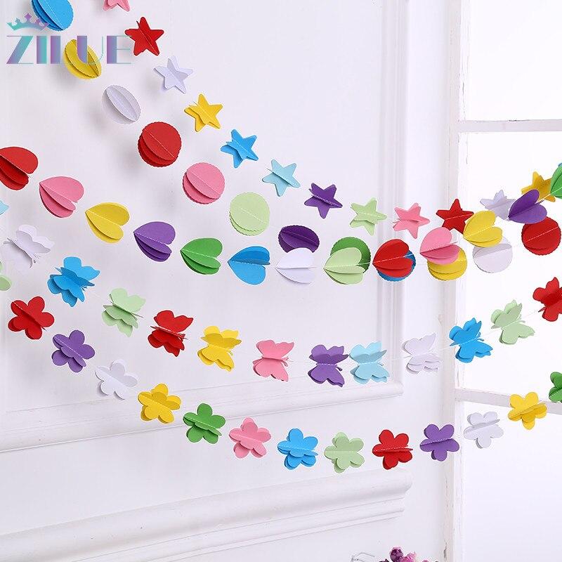 Zilue 5ks / lot Zábavné barevné závěsné papírové girlandy Flora String svatební party Baby děti dekorace kulatý tvar Nové droducts