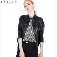 PTSLAN 2018 хорошее качество кожаная куртка женская обувь из натуральной кожи Натуральная кожа модные базовые Куртки P3854