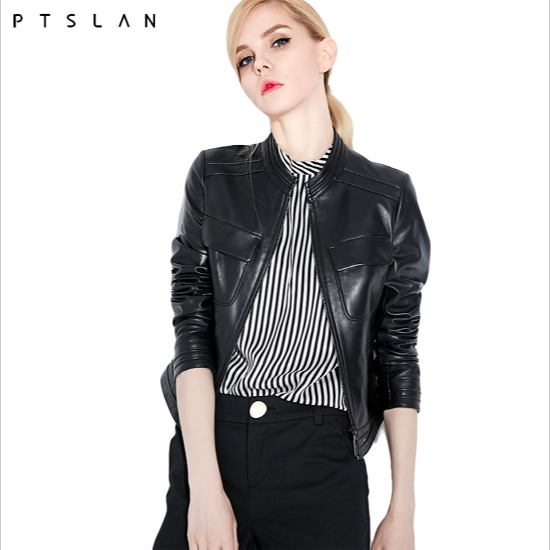 PTSLAN 2018 good quality bomber   jacket   women Genuine Leather Natural skin fashion   basic     jackets   P3854