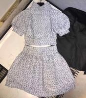 Роскошный комплект из 2 предметов для Женская юбка костюм повседневное твид рубашка с пышными рукавами и мини юбка весна женский
