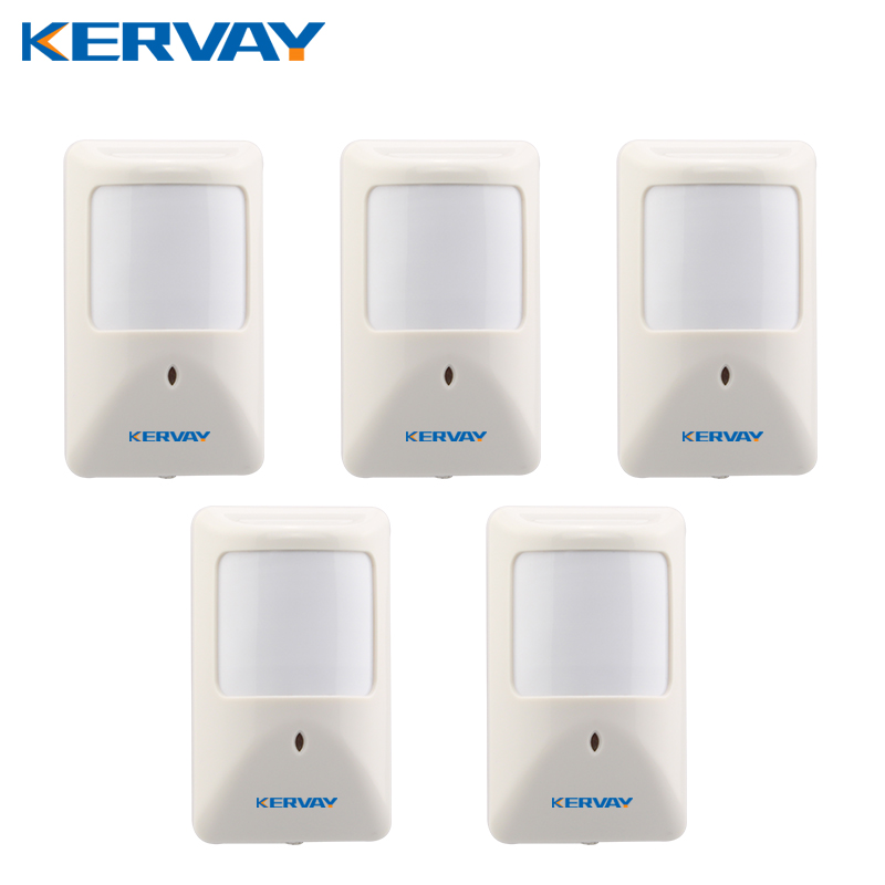 Kervay 5pcs/lot wired PIR motion sensor for home security GSM alarm system Infrared Alarm Detector work with Our alarm host