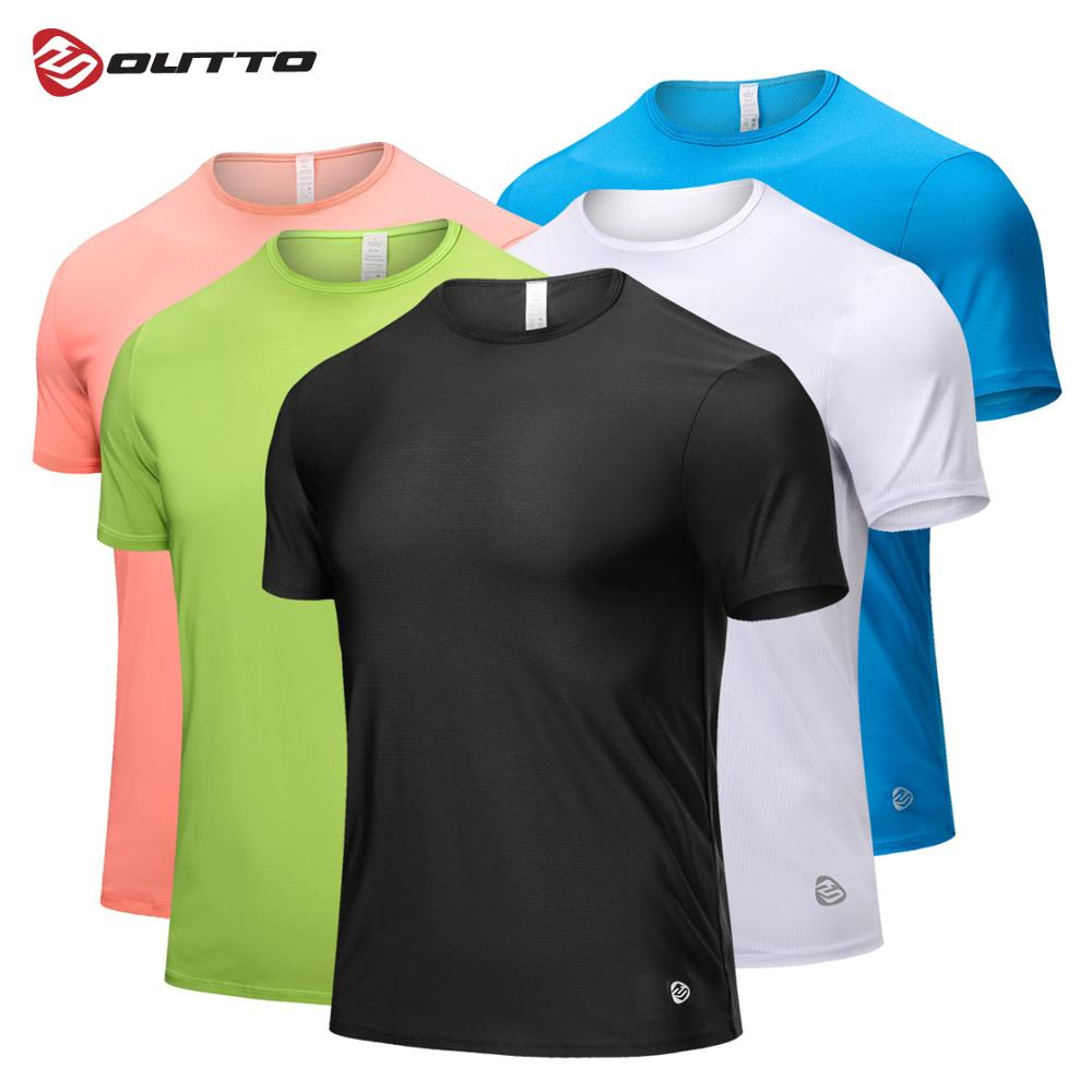 Outto Mens Running T-shirts Quick Dry Elastic Slim Jogging Training Tees Short Sleeve Gym Fitness Sportswear Top #1801