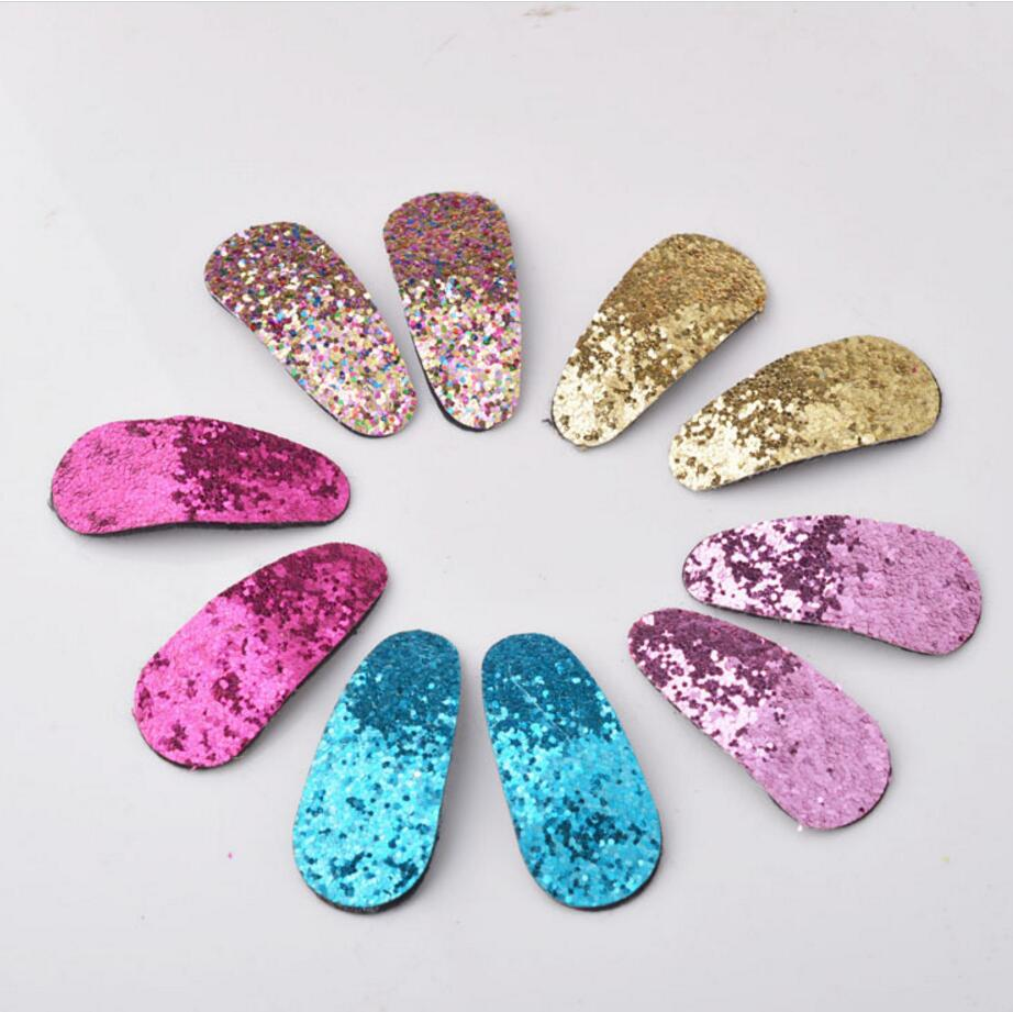 10pcs/lot Baby Girl Kids Hair Accessories Solid Color Glitter Bling Girl Hair Clips Hairpins 5.5cm Length
