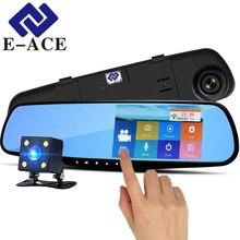 E-ACE A12 Dvr Da 4.3 Pollici Touch Screen Dash Cam Specchietto Retrovisore Digital Video Recorder Dual Lens Cancelliere FHD 1080 P macchina Fotografica dell'automobile Dvr