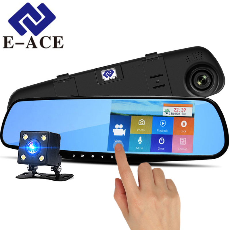 E-ACE Dvr 4.3 Inch Touch Screen Dash Cam Rearview Mirror Digital Video Recorder Dual Lens Registrar Full HD 1080P Car Dvr Camera цены онлайн