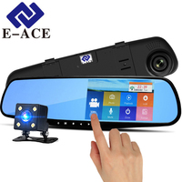 E ACE Dvr 4.3 Inch Touch Screen Dash Cam Rearview Mirror Digital Video Recorder Dual Lens Registrar Full HD 1080P Car Dvr Camera