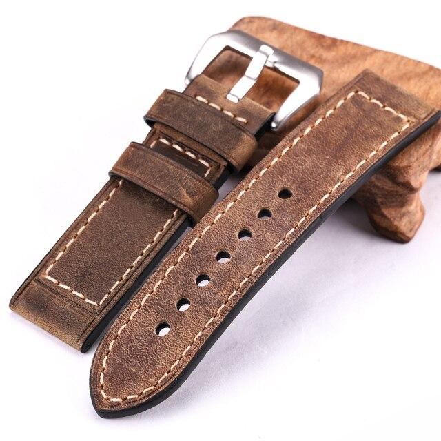 Handmade Cowhide Watchbands 22mm 24mm Men Women Bronw Black Red Genuine Leather Watch Band Strap Blet Stainless Steel Buckle
