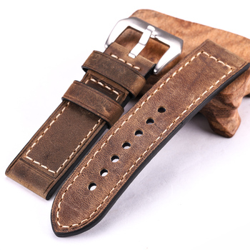 Handmade Cowhide Watchbands 22mm 24mm Men Women Brown Black Red Genuine Leather Watch Band Strap Belt Stainless Steel Buckle