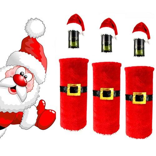 2015 Red Wine Bottle Santa Claus Clothes Cap Suit Cover Christmas Table Home Decor