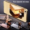 For xiaomi mi max / xiaomi max case 6.44'' Luxury Metal Aluminium Frame Bumper for Xiaomi Mi Max PC Mirror Cover Gold Plating