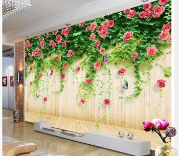 3d Wallpaper Custom Photo Non Woven Mural Wood Grain Romantic Rose Flowers Decoration Painting Bedroom Wallpaper For Walls 3d Buy At The Price Of 14 39 In Aliexpress Com Imall Com