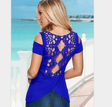 2016 Fashion Women Short Sleeve Sexy Back Lace Off Shoulder Solid Casual Lace Shirts Blouses Summer
