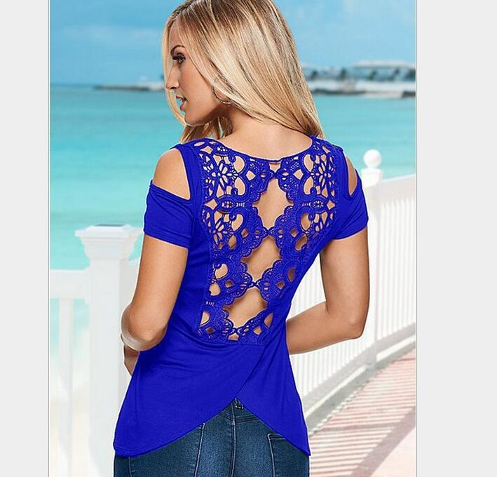 2016 Fashion font b Women b font Short Sleeve Sexy Back Lace Off Shoulder Solid Casual