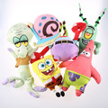 6pcs/set Plush SpongeBob Toys  Patrick Krabs leather boss octopus snail Soft Doll Classic Plush Toys For Children Gift