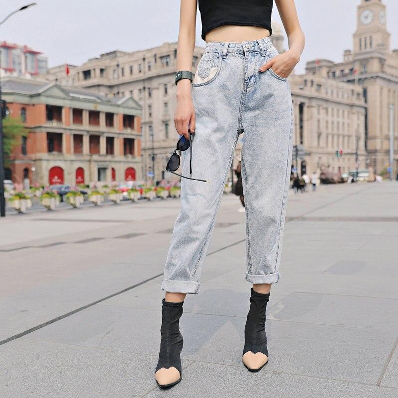 Klacwaya Women Fashion Boyfriend Jeans 2019 Ladies Patchwork High Waist Denim Mom Pants Slim Korean Girls Street Wear Trousers Jeans Aliexpress