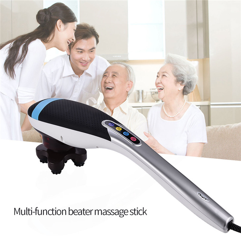 6 in 1 Electric Handheld Shoulder Back Neck Massager Massage Hammer Stick Body Knock Vibration Blood Circulation Pain Relief 1pc massage hammer pat stick acupoint massager body back therapy meridian knock