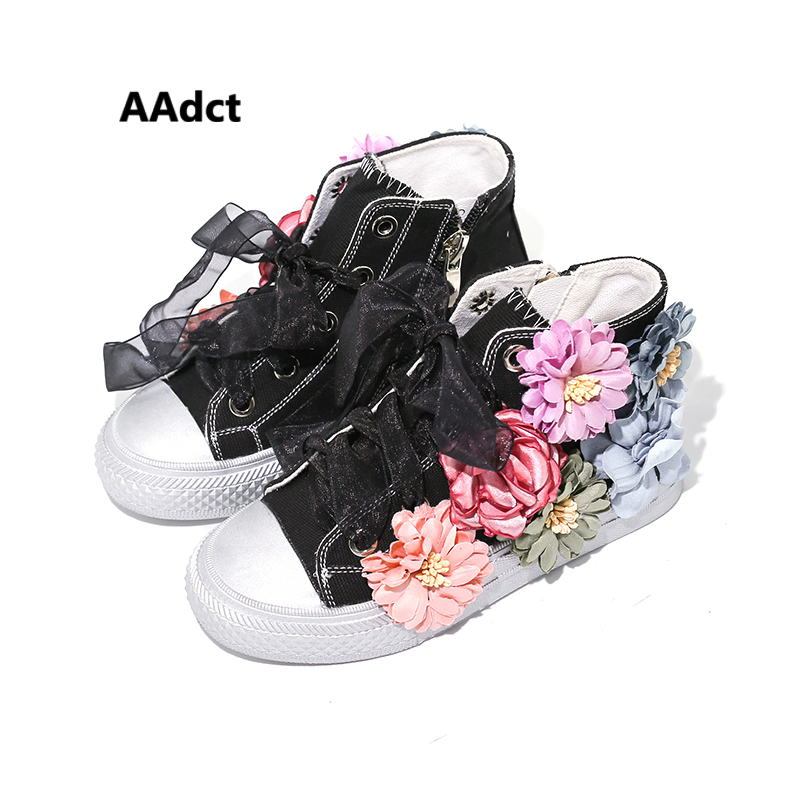 AAdct 2017 Autumn Fashion girls canvas shoes High cut princess flower kids shoes for girls Ribbon