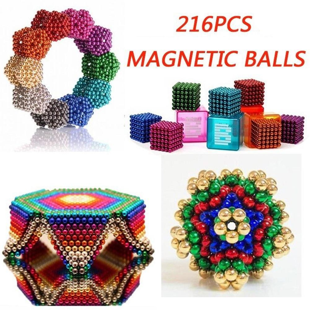 216Pcs 3/5mm 3D Magic Magnet Magnetic Blocks Balls Sphere Cube Beads Building Toys DIY Assemble Educational Kids Adults Toys