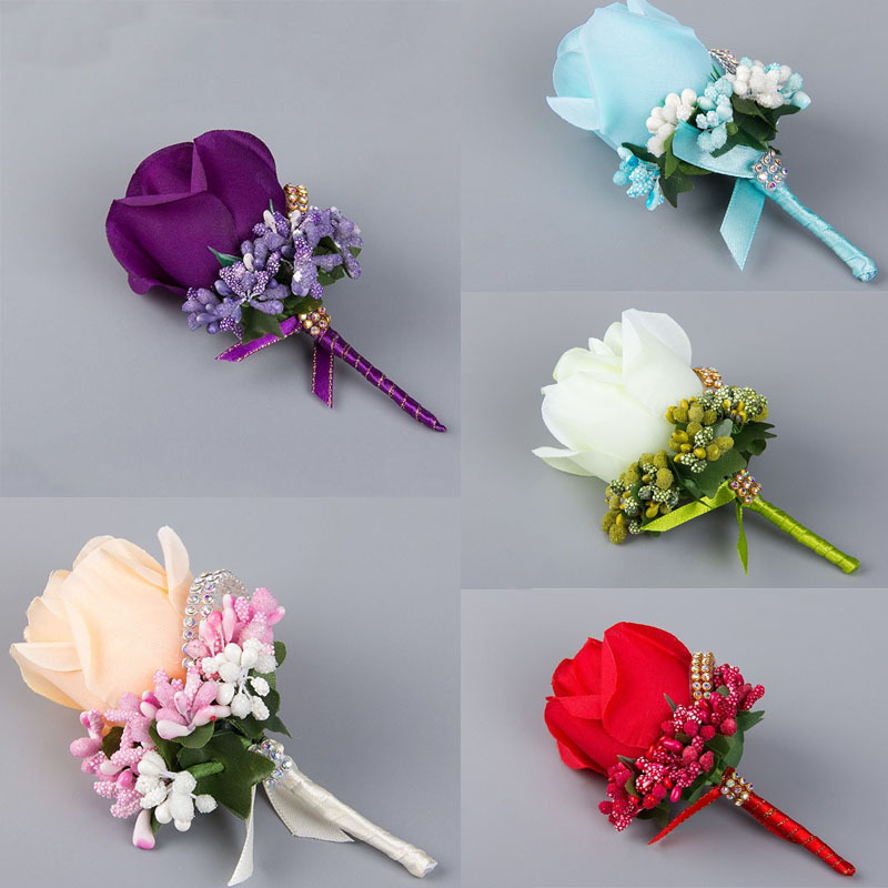 Weddingbobdiy boutonniere ivory groom groomsman best man rose 1 pc ivory red best man corsage for groom groomsman silk rose flower wedding suit boutonniere mightylinksfo Choice Image