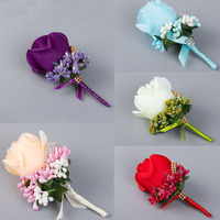 4PCS Ivory Red Best Man Corsage For Groom Groomsman Silk Rose Flower Wedding Suit Boutonnieres Accessories