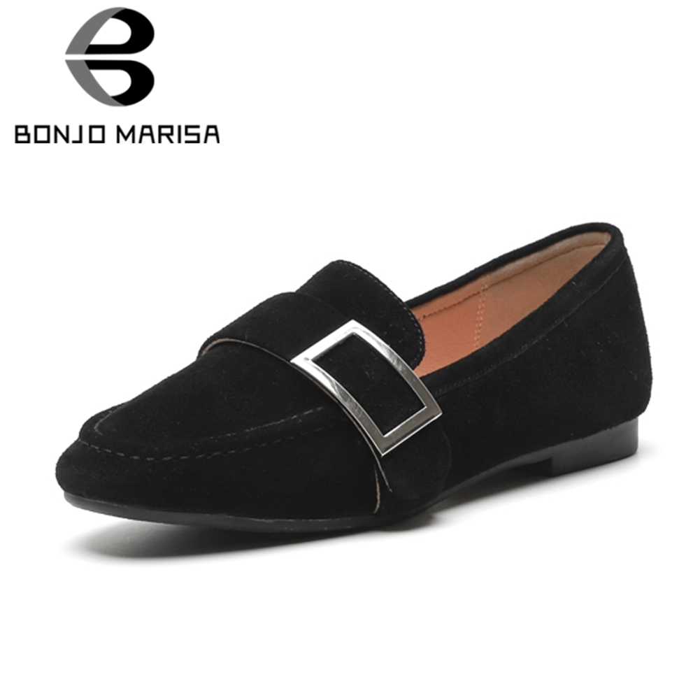 BONJOMARISA 2019 Spring Summer 34-42 Elegant Women Flats Genuine   Leather     Suede   Mocassions Ladies Casual Shallow Flats