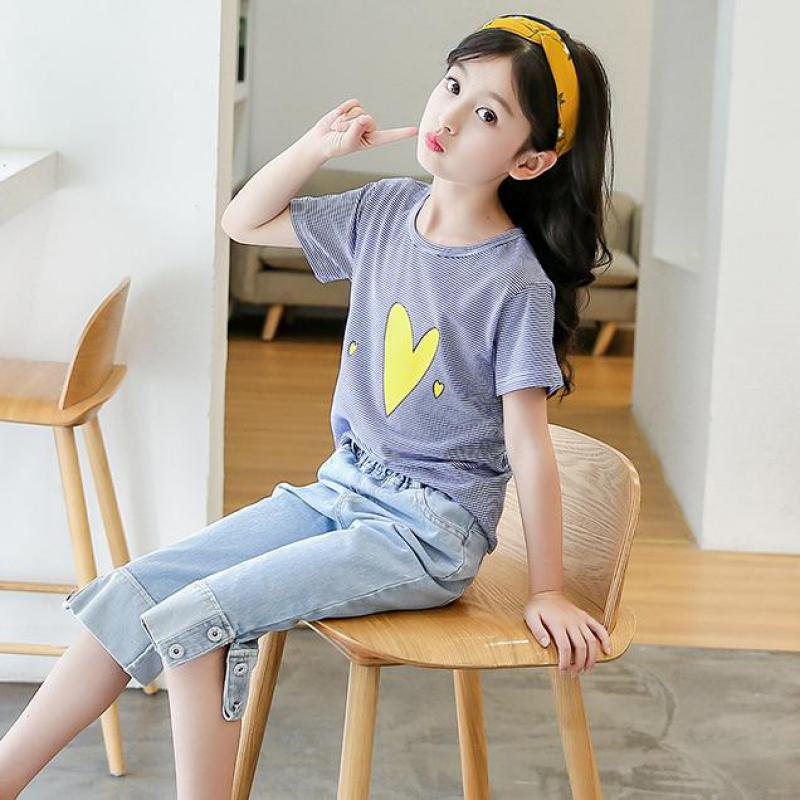 цены Children Toddler Girls Clothes Sets Summer Kids Short Sleeve Striped Tops Tees + Denim Pants Jeans Girls Clothing Sets Outfits