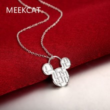"""Mouse Head pendants 925 stamped silver plated necklaces collier 20"""" snake chain For woman's Valentine's Day Gift MEEKCAT"""