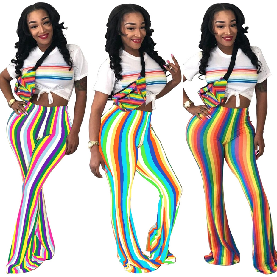 Women Casual High Waist Rainbow Striped Flare Wide Leg Long Pants Summer Fashion