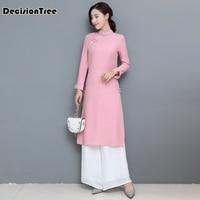 2019 new arrival aodai vietnam qipao dress for women traditional clothing ao dai dresses knee length oriental dress for women
