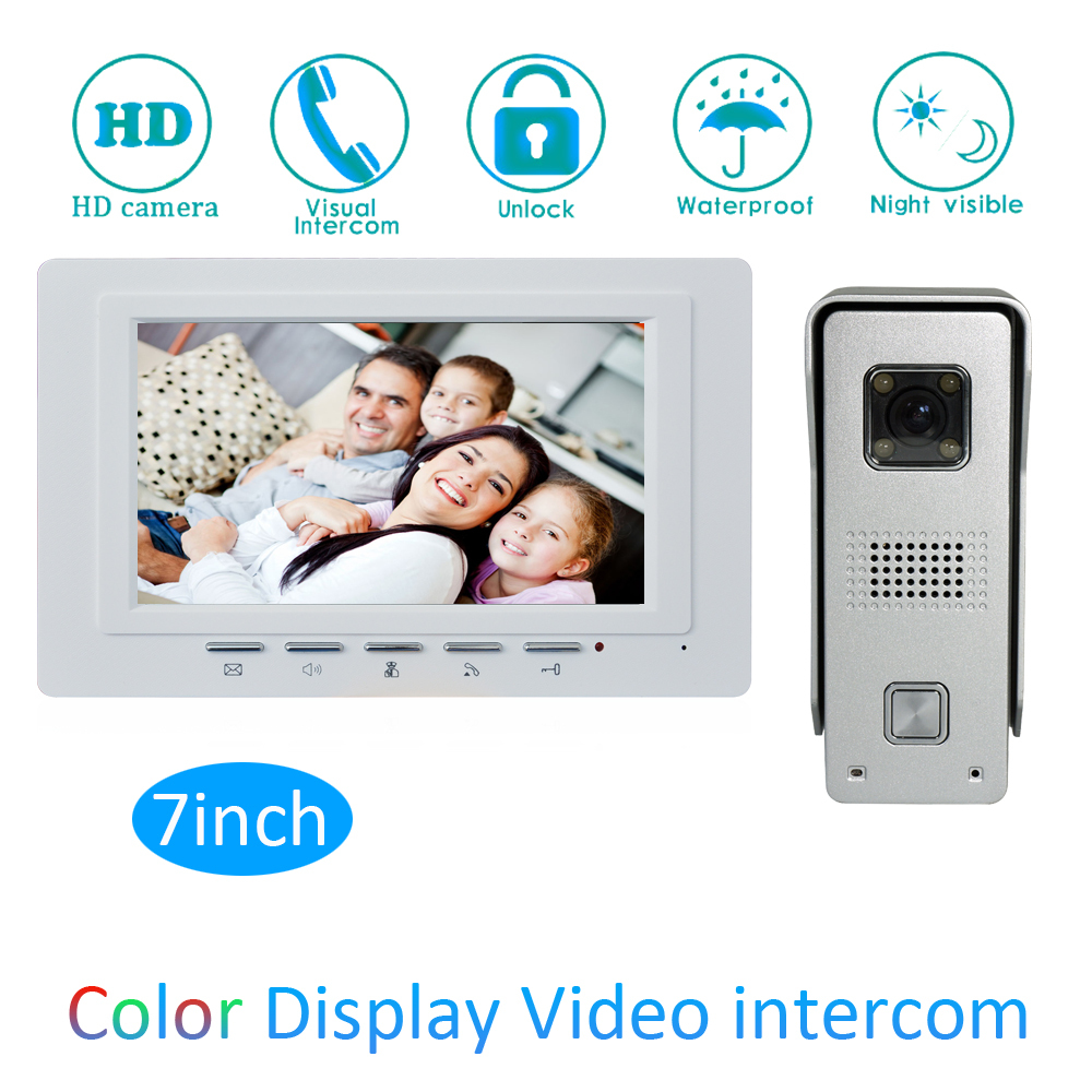 Gold Surface Intelligent 1 To 1 Intercom Kit 7 Inch LCD Monitor Wire Video Door Phone Doorbell System Security Camera For Vistor