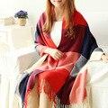 60*200 cm regalo de Navidad Top Unisex manta a cuadros manta bufanda Mujeres 2015 Marca Tamaño Grande Bufandas de la bufanda de Los Hombres Pashmina Chal femal