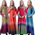 Цвета радуги Мусульманские Женщины Исламский Абая Кафтан Платье С Длинным Рукавом Летом Халат Jilbabs Ближний Восток Арабский Стиль Пол-Длина платье