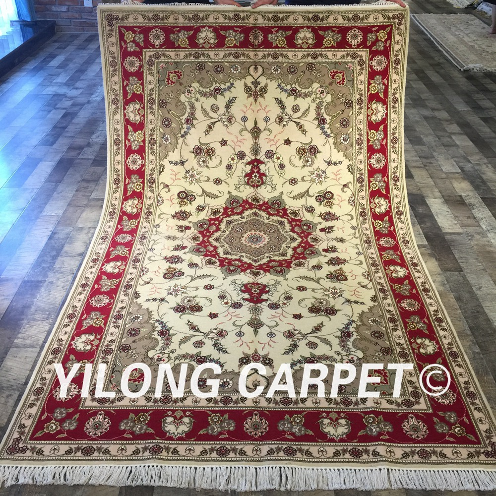 Shop Classical Kashan Medallion Hand Knotted Persian Wool: Yilong 5'x8' Hand Knotted Red Persian Carpet Ivory
